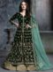 Alluring Green Velvet Embroidered Work Anarkali Suit