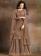 Brown Silk Embroidered Work Designer Palazzo Suit