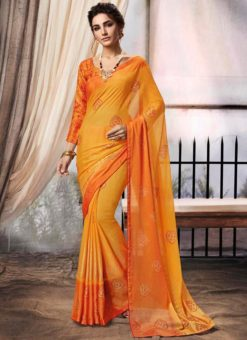 Yellow Chiffon Printed Party Wear Saree