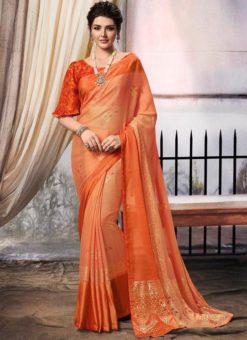 Orange Chiffon Printed Party Wear Saree