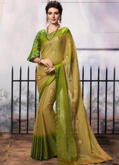 Green Chiffon Printed Party Wear Saree