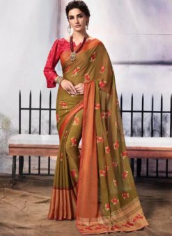 Beige Chiffon Printed Party Wear Saree