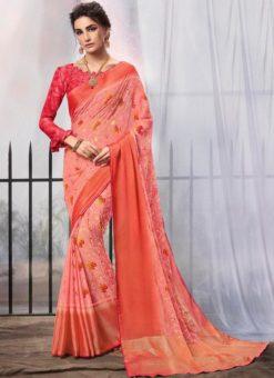 Pink Chiffon Printed Party Wear Saree
