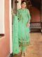 Green Heavy Embroidred Designer Satin Georgette Salwar Suit