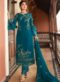 Sea Blue Heavy Embroidred Designer Satin Georgette Salwar Suit