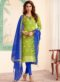 Green Banarasi Silk Party Wear Churidar Suit
