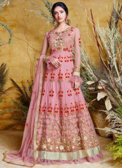 Heavy Designer Party Wear Butter Fly Pink Net Anarkali Suit
