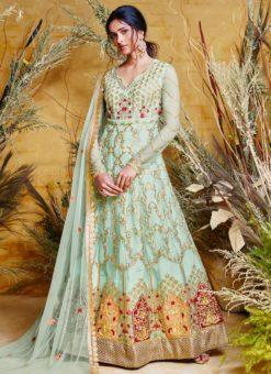 Heavy Designer Party Wear Butter Fly Pisata Net Anarkali Suit