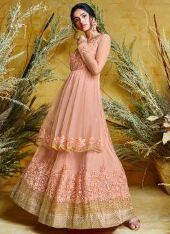 Heavy Designer Party Wear Butter Fly Peach Net Anarkali Suit