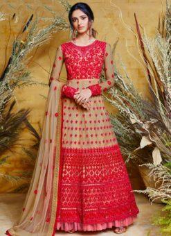 Heavy Designer Party Wear Butter Fly Red Net Anarkali Suit