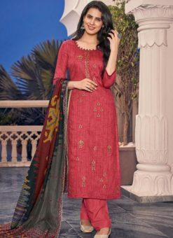 Red Designer Jam Cotton Print Salwar Suit