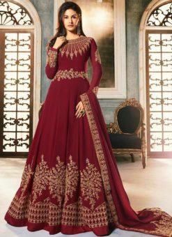 Maroon Georgette Heavy Embroidered Floor Length Anarkali Suit