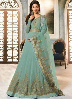 Sea Green Georgette Heavy Embroidered Floor Length Anarkali Suit