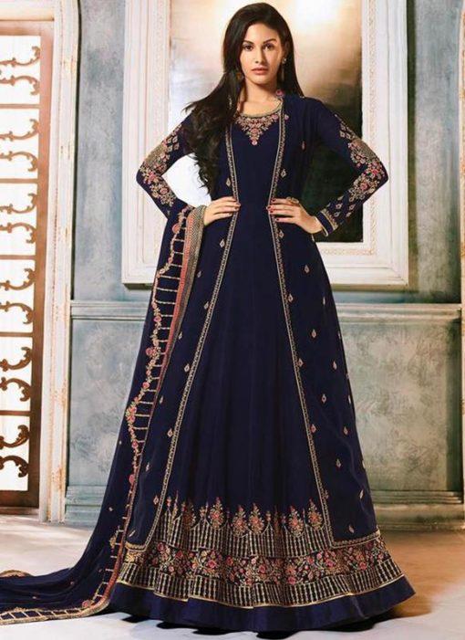 Navy Blue Georgette Heavy Embroidered Floor Length Anarkali Suit