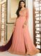 Peach Georgette Heavy Embroidered Floor Length Anarkali Suit
