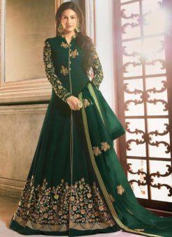 Green Georgette Heavy Embroidered Floor Length Anarkali Suit
