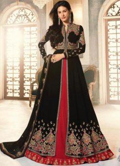 Black Georgette Heavy Embroidered Floor Length Anarkali Suit