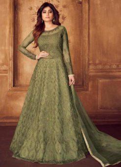 Green Karigiri Net Embroidered Floor Length Anarkali