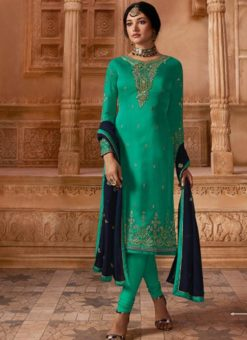 Designer Partywear Embroidery Rama Satin Georgette Salwar Suit