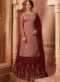 Designer Partywear Embroidery Rosy Brown Satin Georgette Salwar Suit
