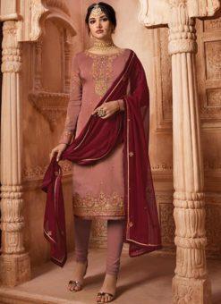 Designer Partywear Embroidery Rosy Brown Satin Georgette Salwar Suit