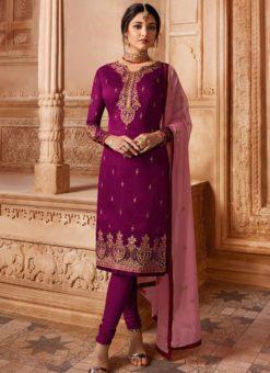 Designer Partywear Embroidery Purple Satin Georgette Salwar Suit