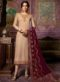 Designer Partywear Embroidery Light Brown Satin Georgette Salwar Suit
