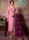 Designer Partywear Embroidery Soft Pink Satin Georgette Salwar Suit