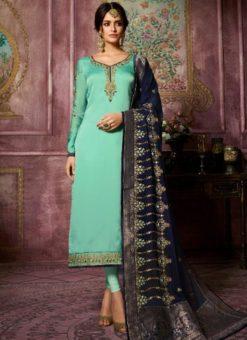 Designer Partywear Embroidery Mint Satin Georgette Salwar Suit