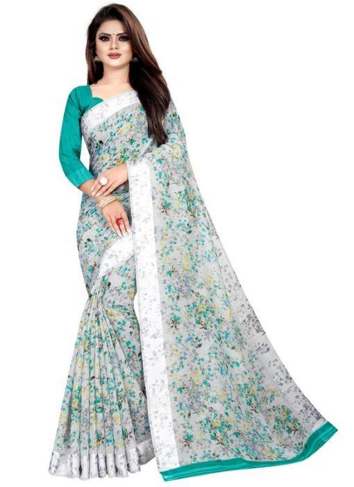 Partywear Designer Smoke White Soft Linen Silk Saree