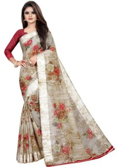 Partywear Designer Light Grey Soft Linen Silk Saree