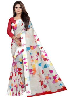 Partywear Designer Off White Soft Linen Silk Saree