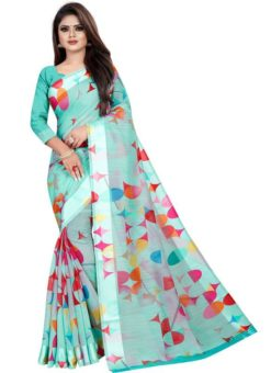 Partywear Designer Light Sky Blue Soft Linen Silk Saree