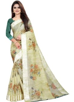 Partywear Designer Light Green Soft Linen Silk Saree