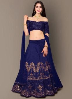 Designer Wedding Embroidery Blue Malbury and Banglory Silk Lehengha Choli