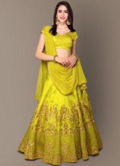 Designer Wedding Embroidery Neon Malbury and Banglory Silk Lehengha Choli