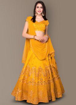 Designer Wedding Embroidery Yellow Malbury and Banglory Silk Lehengha Choli