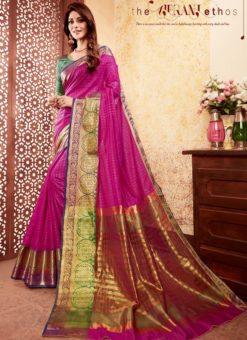 Charming Pink Silk Traditional Saree