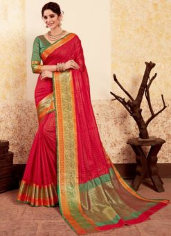 Lovley Red Silk Traditional Saree
