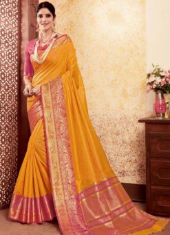 Amazing Yellow Silk Traditional Saree