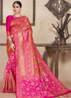 Pink Silk Zari Wearving Wedding Saree