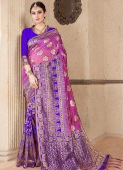 Blue Silk Zari Weaving Wedding Saree