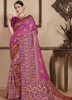 Purple Silk Zari Weaving Wedding Saree
