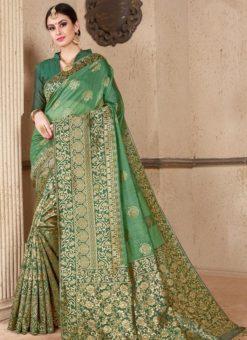 Green Silk Zari Weaving Wedding Saree