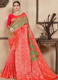 Red Silk Zari Weaving Wedding Saree