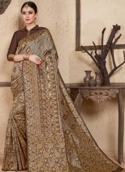 Brown Silk Zari Weaving Wedding Saree