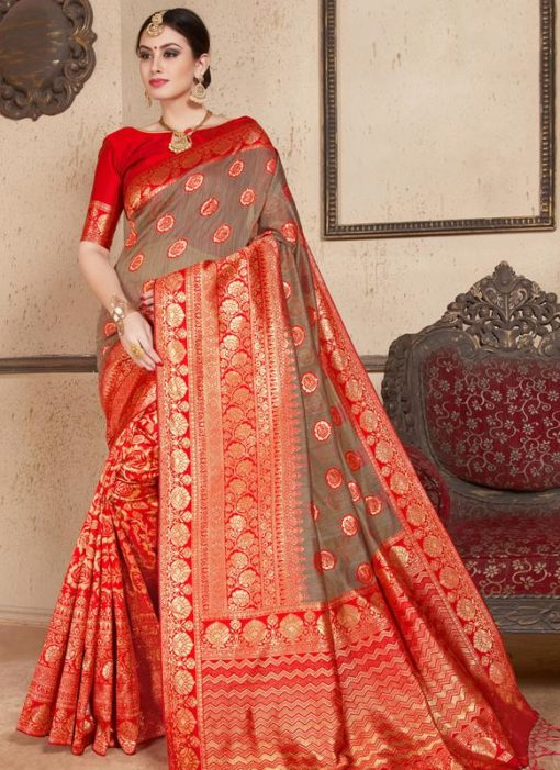 Red Silk Zari Weaving Wedding Saree