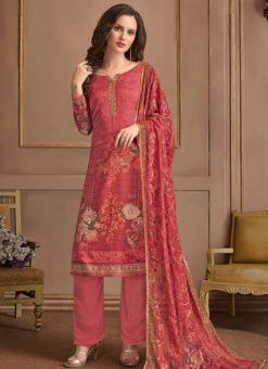 Red Georgette Printed Casual Salwar Suit