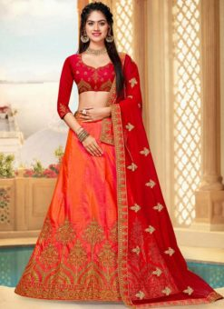 Orange Art Silk Embroidered Work Wedding Lehenga Choli