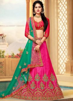 Pink Art Silk Embroidered Work Wedding Lehenga Choli